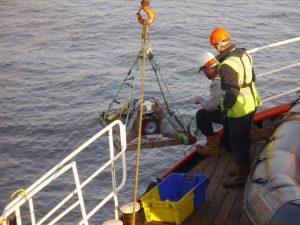 Installing oceanographic deployment